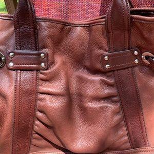 Lg B. Makowsky brown leather satchel/shoulder bag